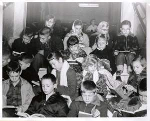 Children Reading black and white old large