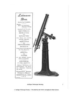 Ad in Antique Telescope Society